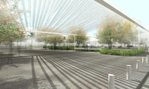 מבנה ההצללה UNDER BLUE SKY סטודיו AN נתנאל אלפסי ואביטל גורארי בשיתוף Toshikatsu Kiuchi