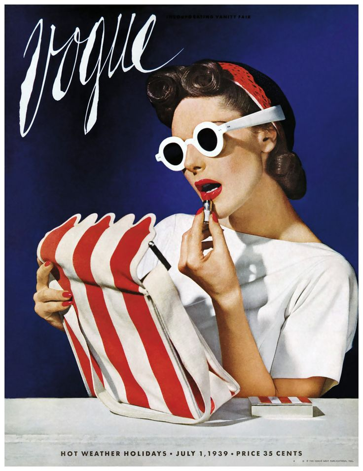 Model, Muriel Maxwell, in white sunglasses, holding striped bag while applying makeup